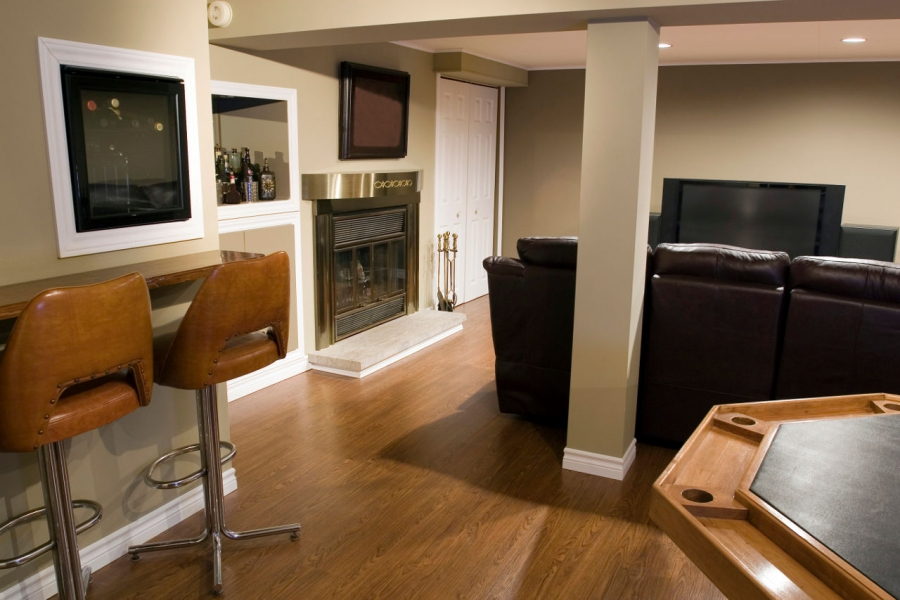 Wonderful Cost To Build A Room In Basement Part - 13: Finished Basement Man Cave With Bar And Fireplace