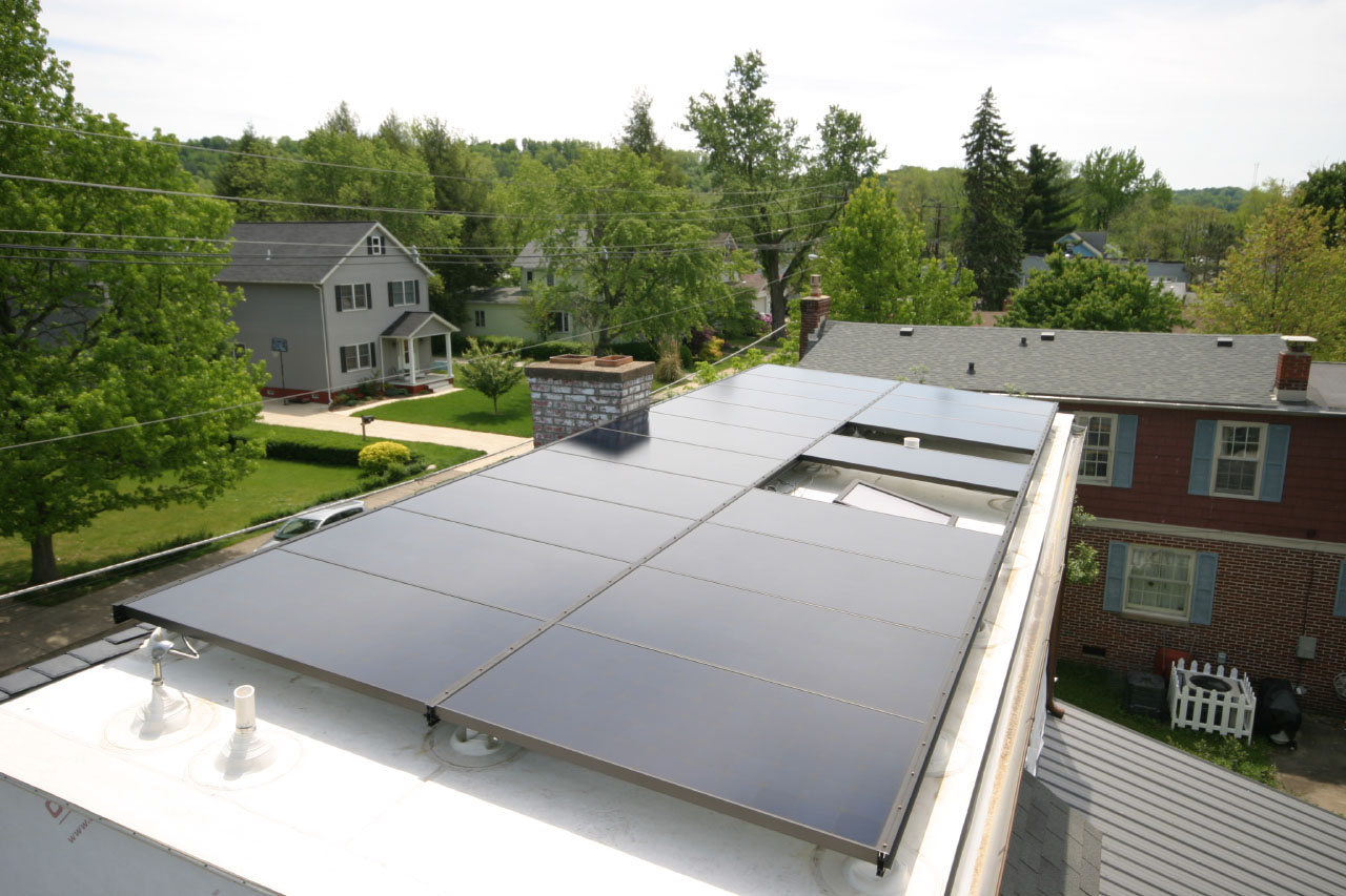 completed roof solar panel array