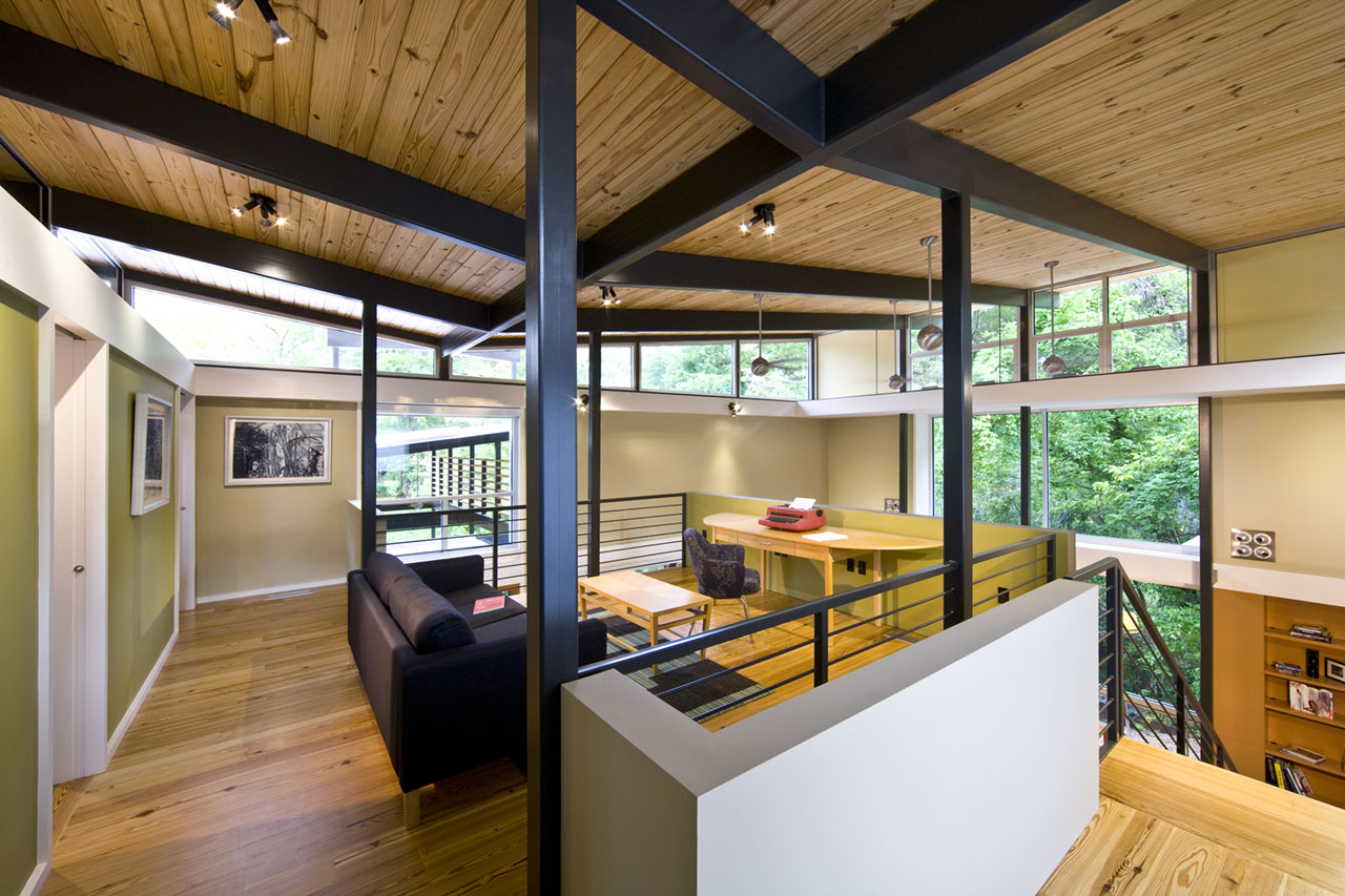 RainShine House family room by architect Robert M. Cain