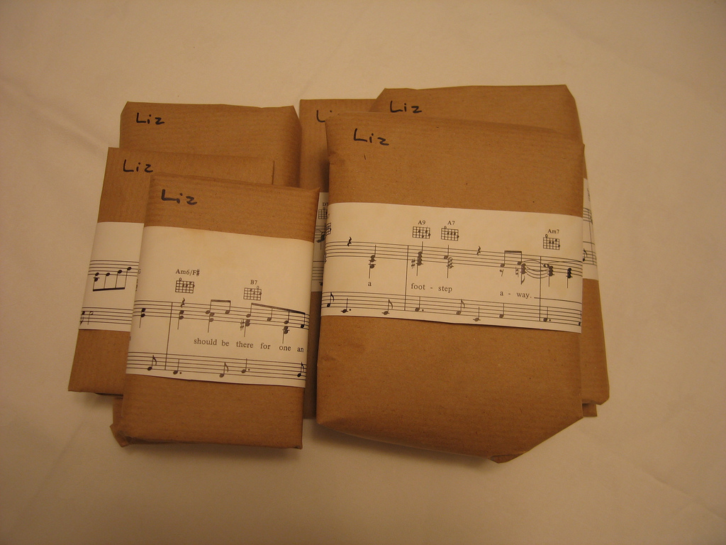 Brown Paper and Sheet Music Wrap