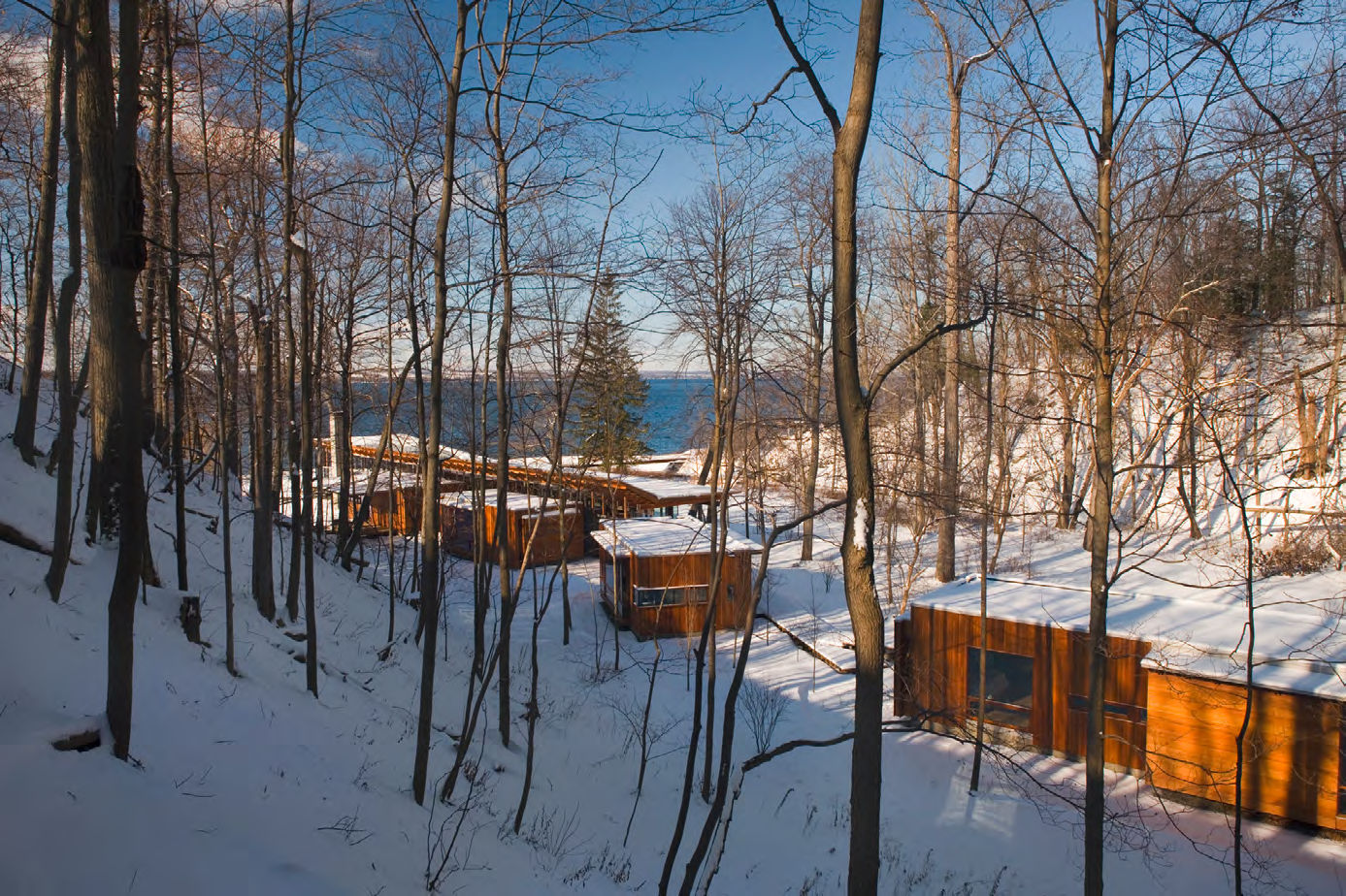 Wooded View of the Combs Point Residence by Bohlin Cywinski Jackson