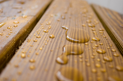 water beading on Wood Decking