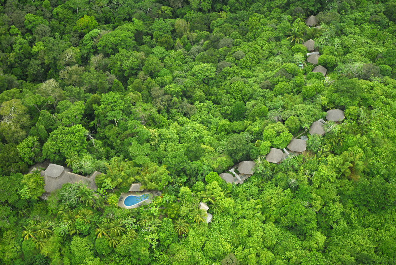 Aerial view of Lapa Rios Rainforest Ecolodge in Costa Rica