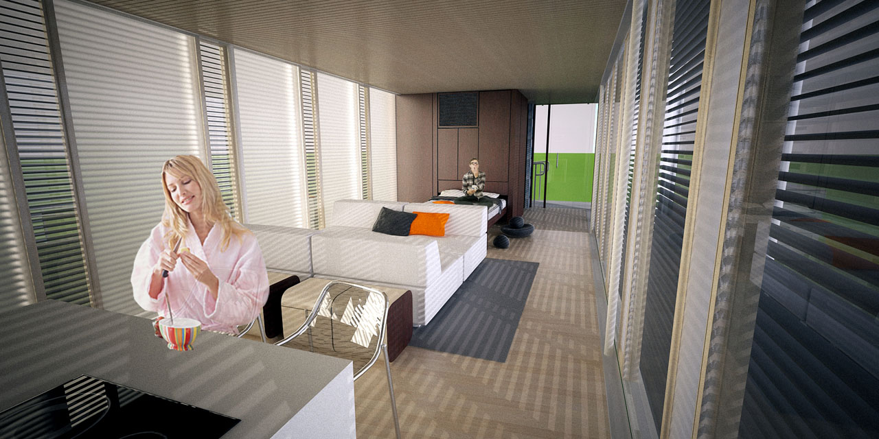 2011 Solar Decathlon University of Tennessee Living Light interior rendering