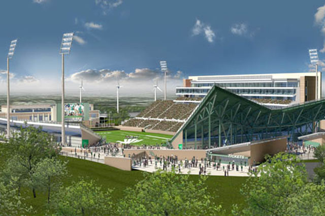 Wind Turbines are Installed at the University of North Texas Stadium