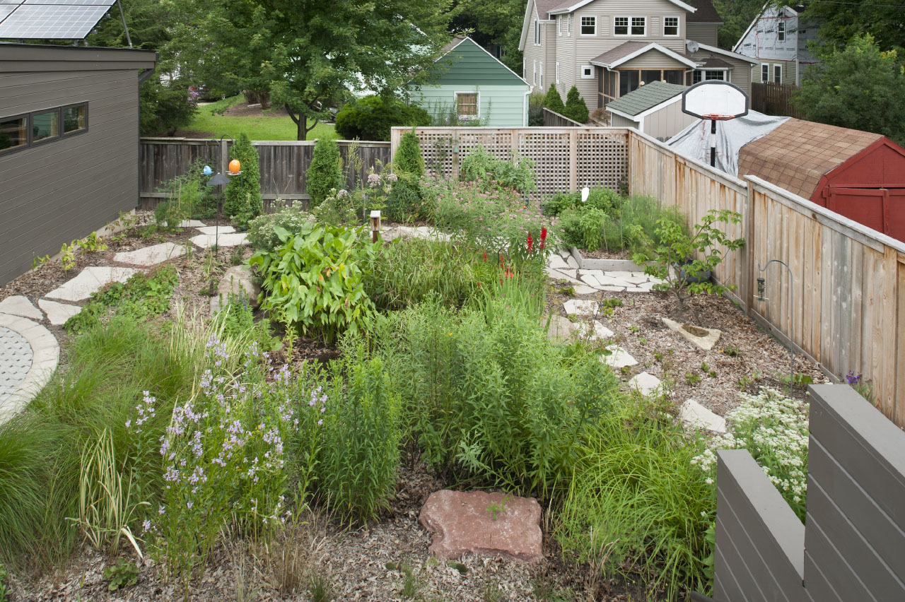 Backyard garden of the the Ross Street House in Madison, Wisconsin by Richard Wittschiebe Hand Architects