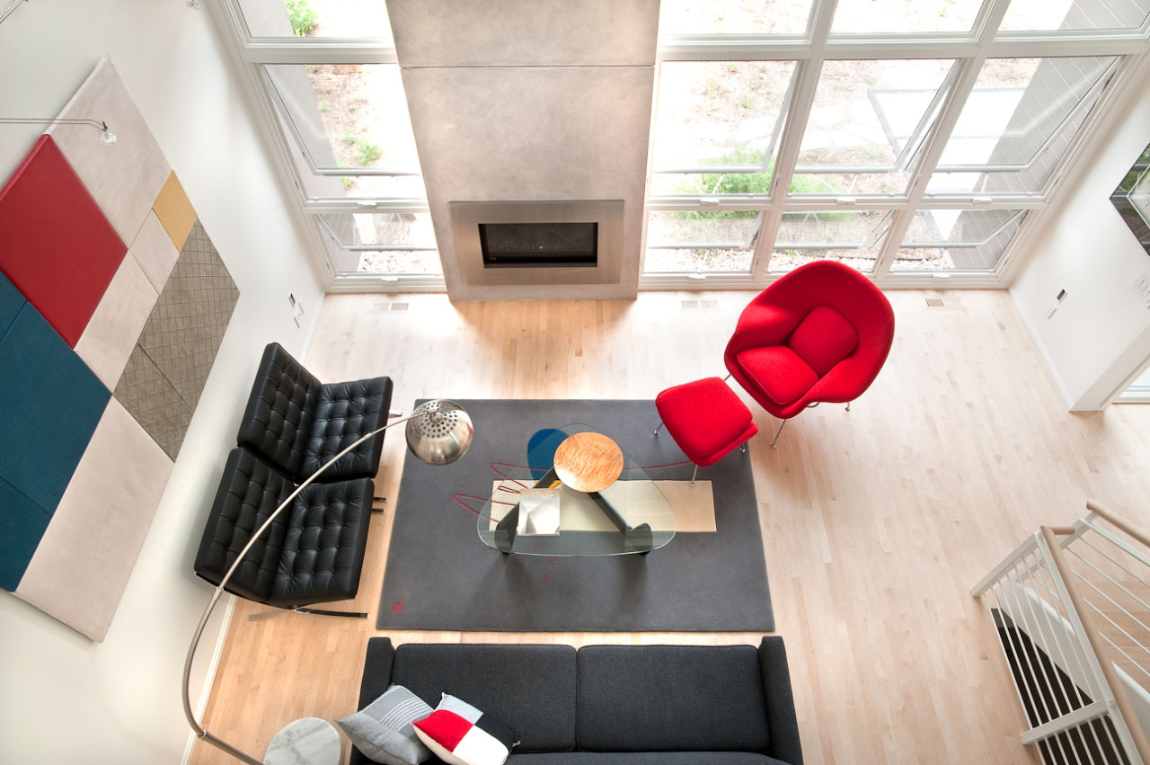 Overhead living room view of the ross street house in madison wisconsin by richard wittschiebe