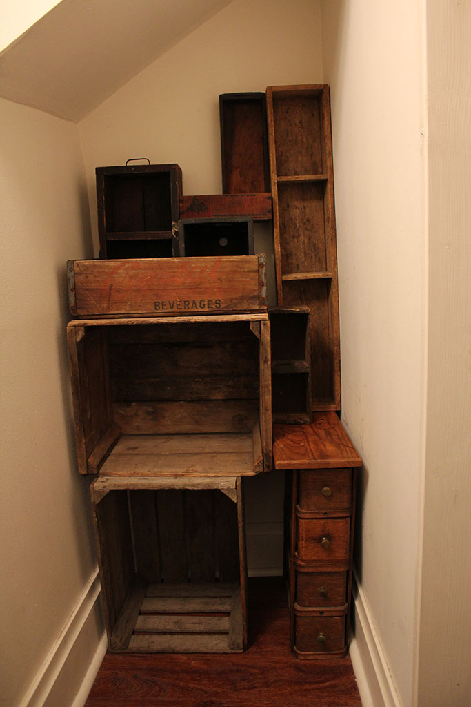 Arrange the crates for the DIY Vintage Crate Storage project