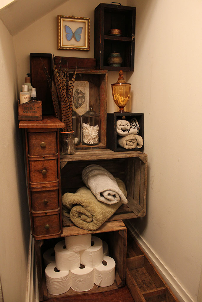 Finished DIY Vintage Crate Bathroom Storage project