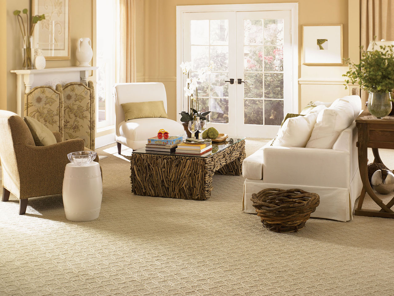 Innovations in flooring carpet and tile made from Carpet or wooden floor in living room