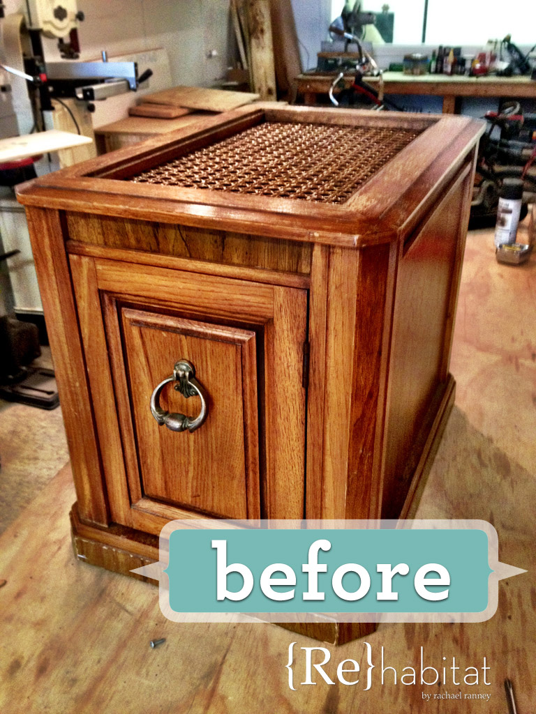 DIY Litter Box Cabinet Before
