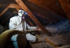 Spraying Insulation Into An Attic - Credit Dennis SchroederNREL