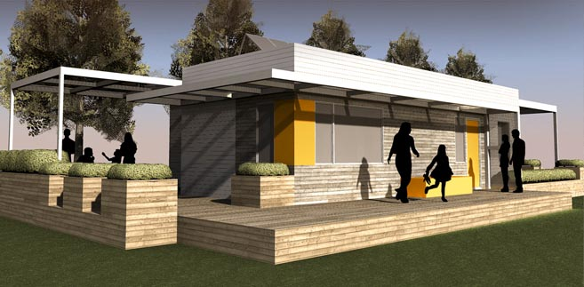 2011 Solar Decathlon University of Illinois at Urbana-Champaign Re_home exterior rendering