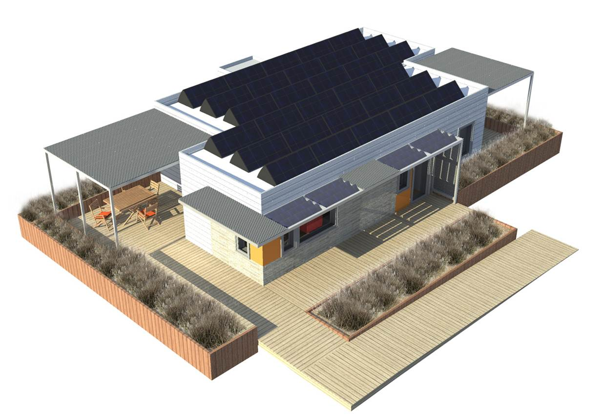2011 Solar Decathlon University of Illinois at Urbana-Champaign Re_home exterior aerial rendering