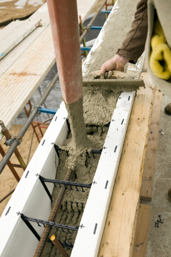 Filling Insulated Concrete Forms (ICF) with concrete