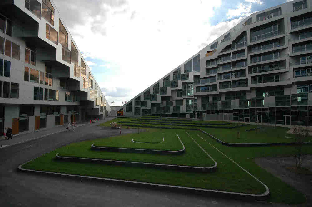 The courtyard of 8 House by Bjarke Ingels Group BIG