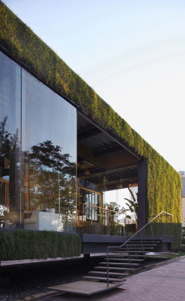 Exterior detail of the Green Technology Showroom by Vector Architects in Beijing, China