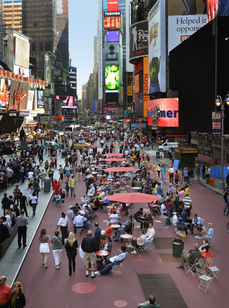 Pedestrian seating on Broadway in New York City designed by Gehl Architects