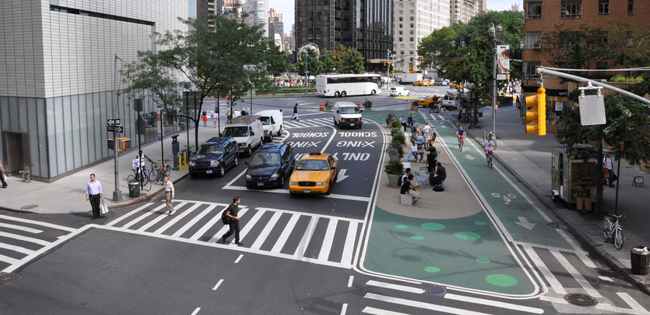Image of New York City street after the addition of more pedestrian space
