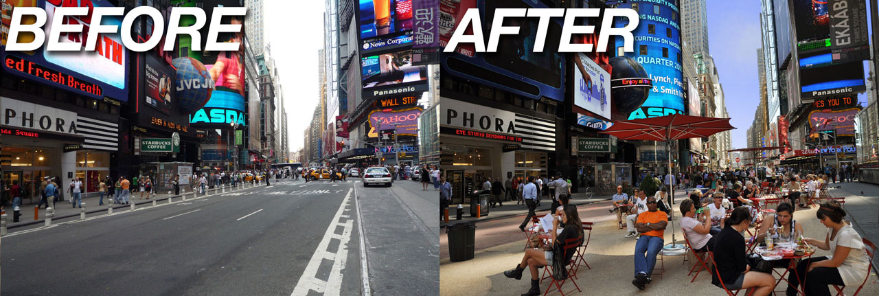 Before and After of Time Square showing the addition of more pedestrian space