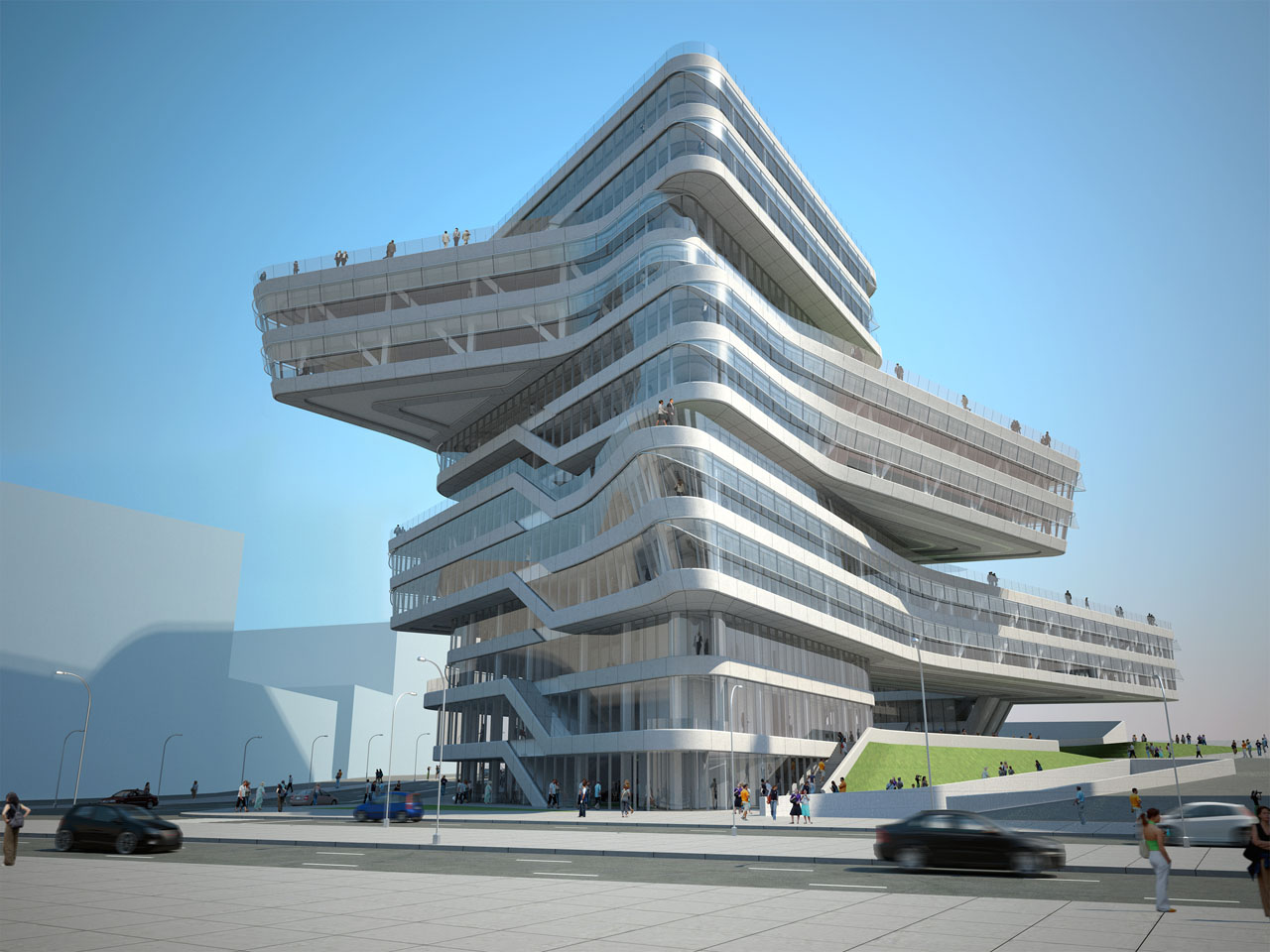 Zaha Hadid Architects Edifici Torre Espiral on Office Building Floor Plan Designs