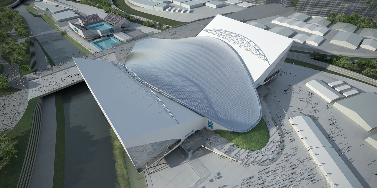 Aerial view of Zaha Hadid's Aquatics Centre for the 2012 Olympic Games in London