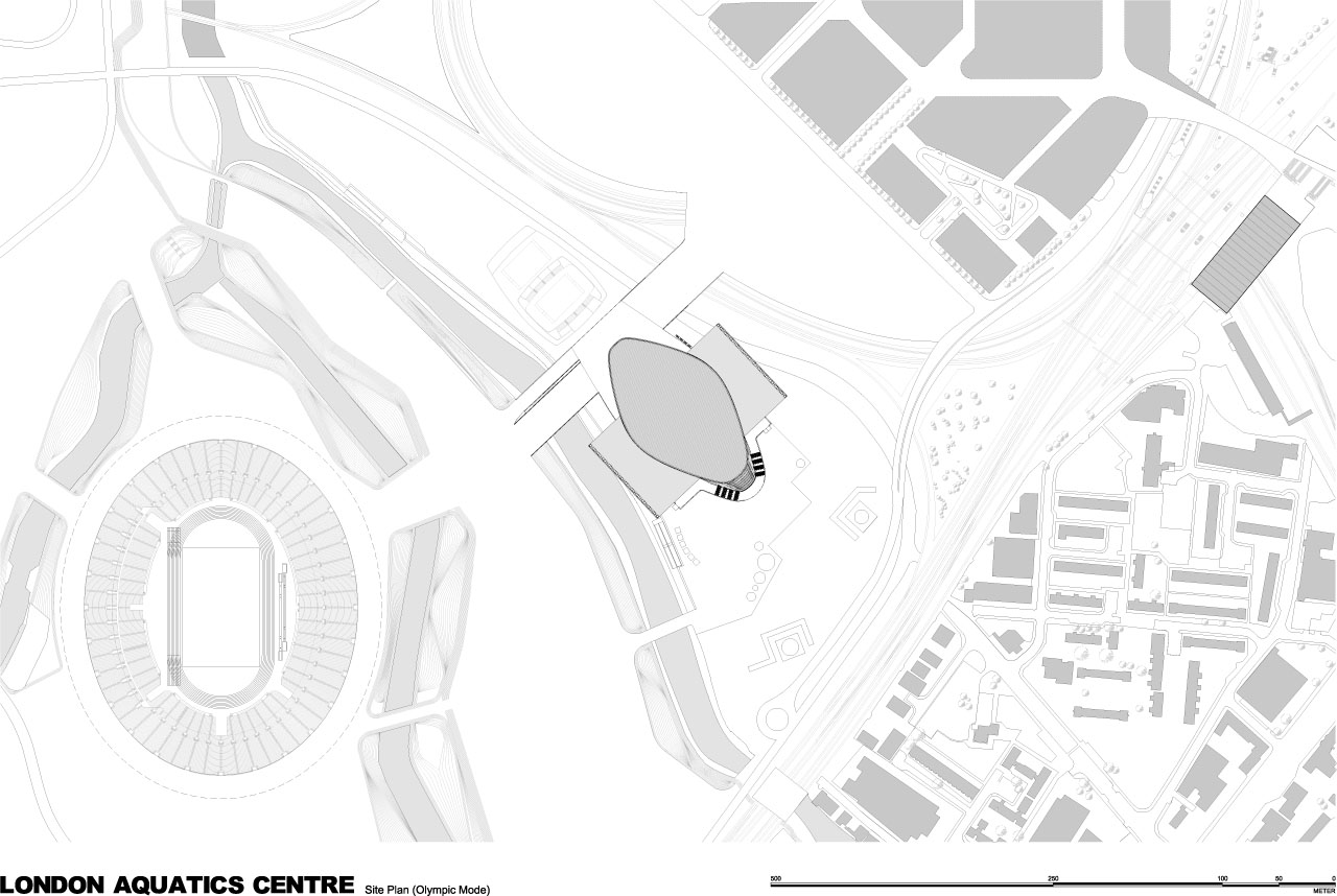Site plan of the London Olympic Aquatics Centre by Zaha Hadid