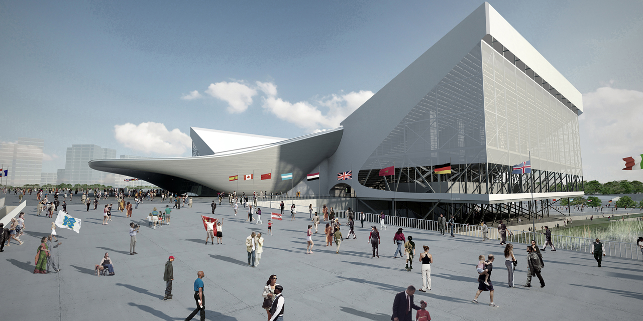 Rendering of the London Olympic Aquatics Centre by Zaha Hadid