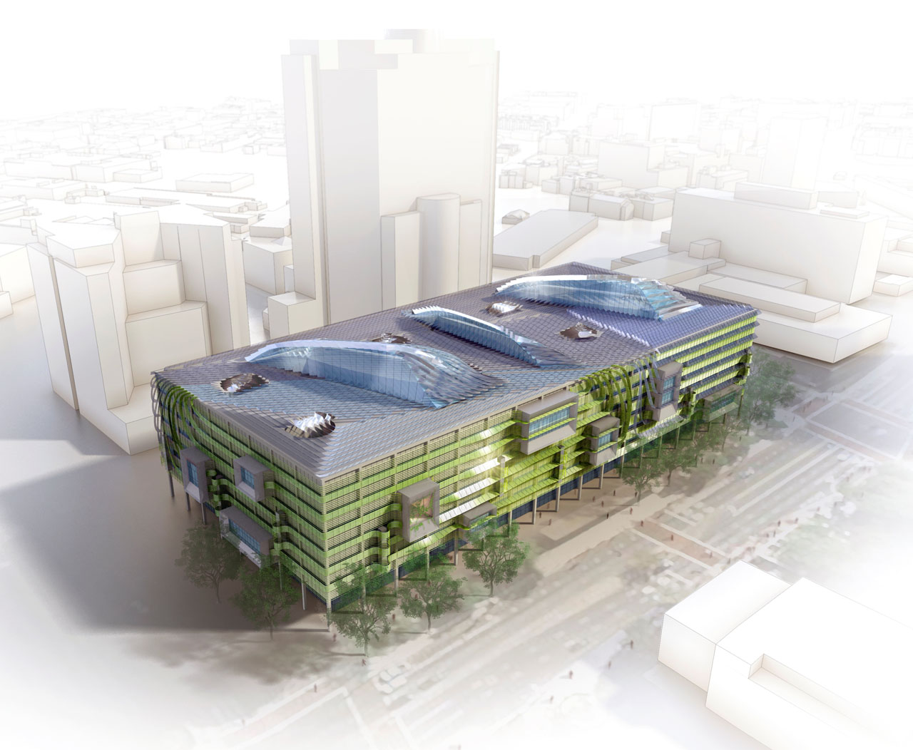 Aerial rendering of the Process Zero Concept Building by HOK