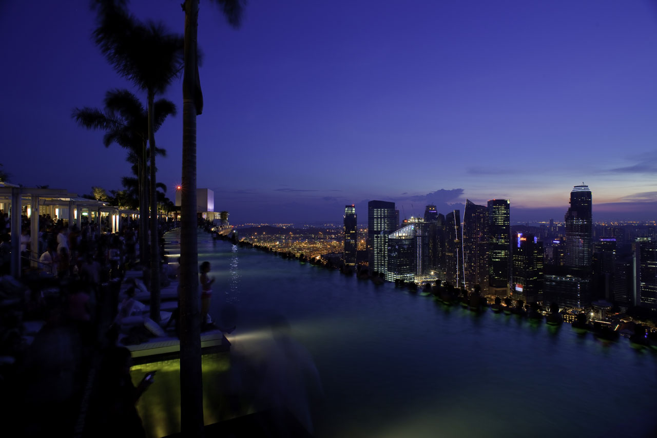 Marina Bay Sands SkyParkrooftop pool at night