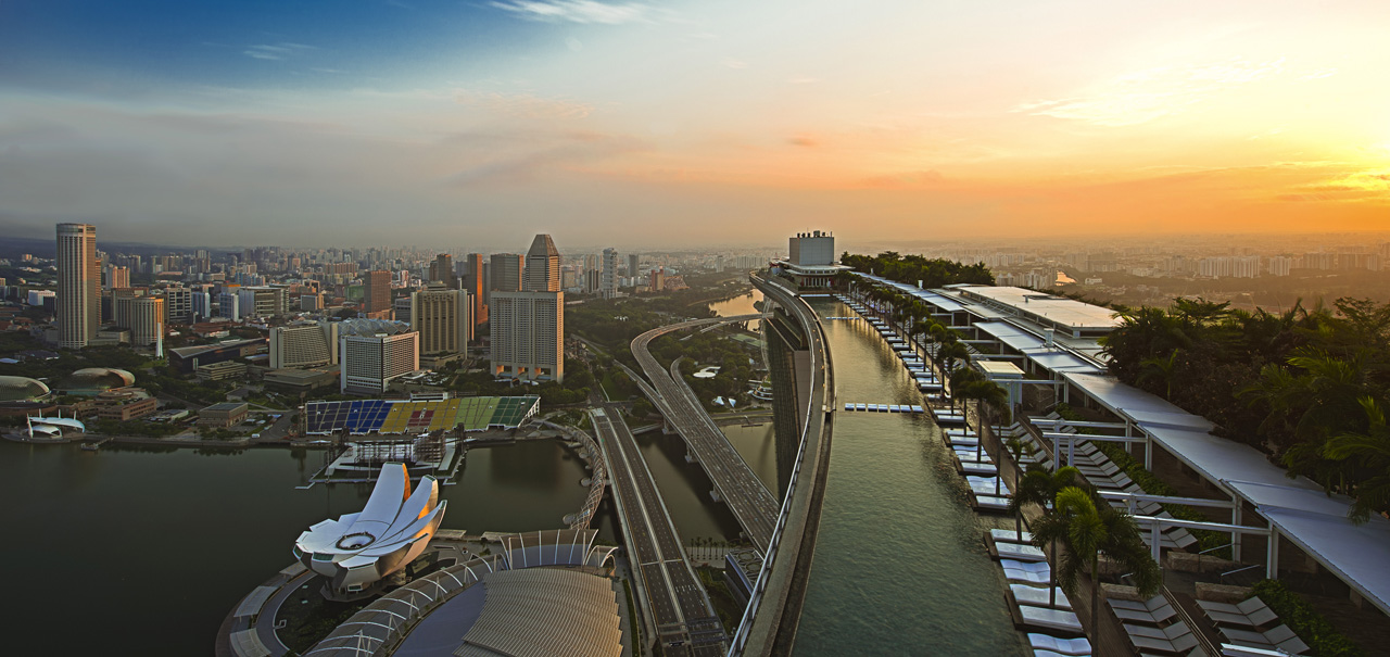 Marina Bay Sands SkyPark's rooftop pool at sunrise