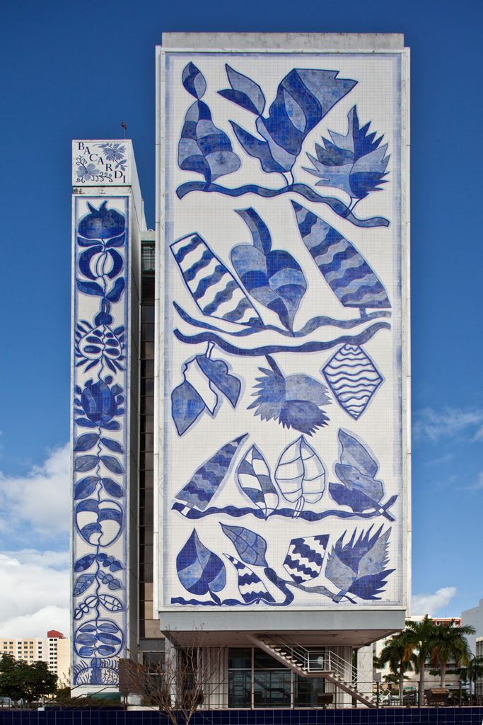 The Bacardi Building's facade composed of blue and white tile murals