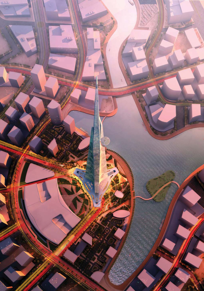 Aerial rendering of The Kingdom Tower in Jeddah, Saudi Arabia designed by Adrian Smith + Gordon Gill Architecture