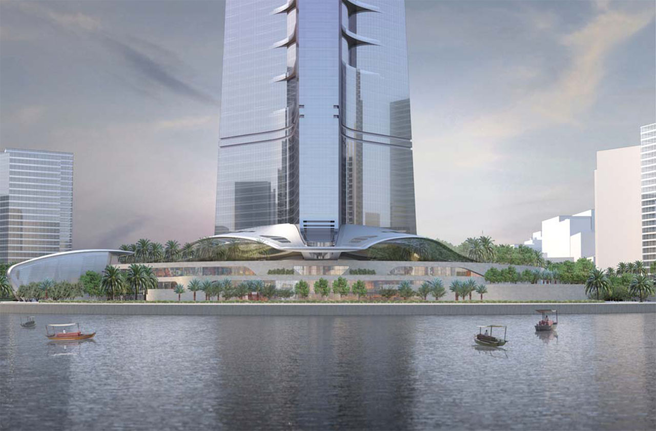 Exterior rendering of The Kingdom Tower in Jeddah, Saudi Arabia designed by Adrian Smith + Gordon Gill Architecture