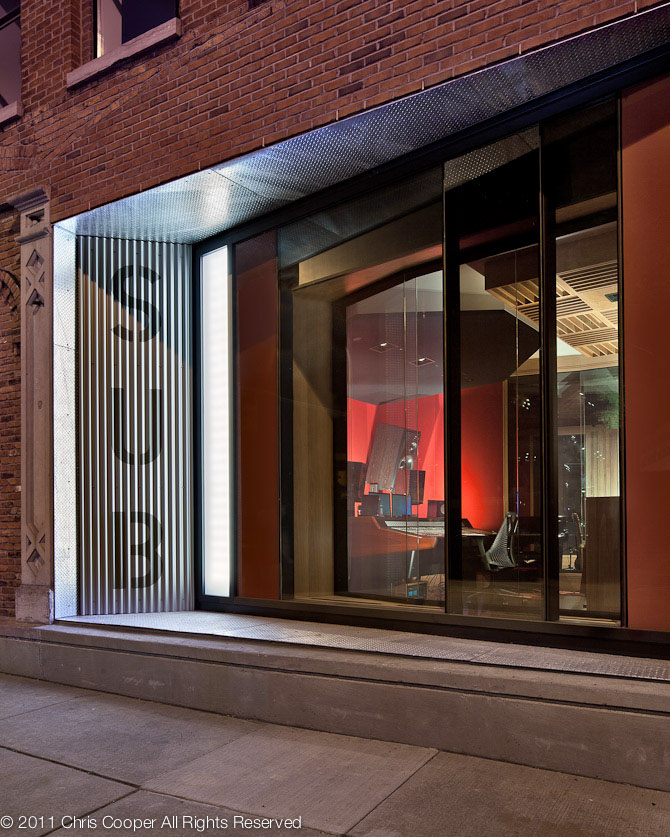 Exterior window of SubCat Studios by Fiedler Marciano Architecture