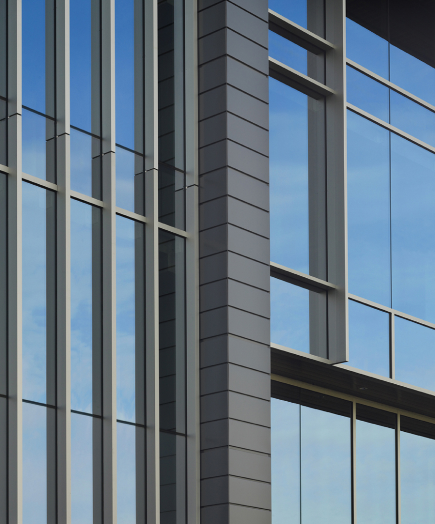 Salmon Bay Landing building exterior glass detail by Stuart Silk Architects