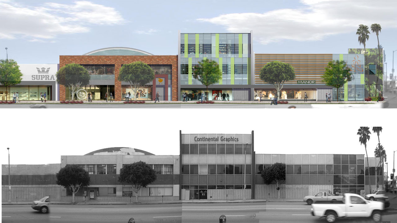 Before and after of the revitalized Continental Graphics building rehabilitated by Studio One Eleven