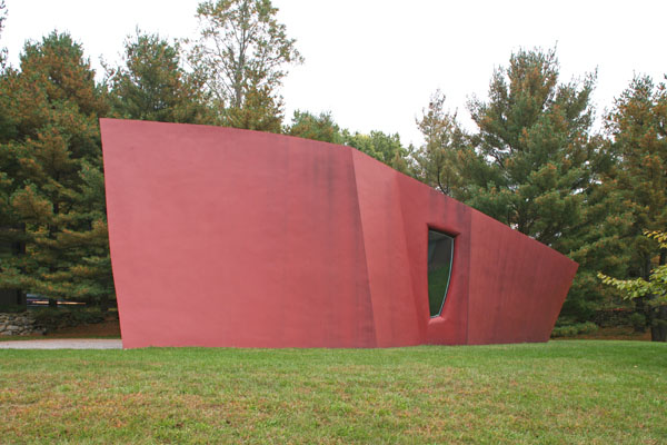 Architect Philip Johnson's red Da Monsta library is sculpture combined with architecture.