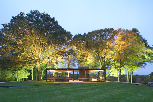 Architect Philip Johnson's iconic Glass House at dawn.