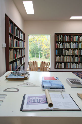 Architect Philip Johnson's Desk in the library of the Glass House Estate
