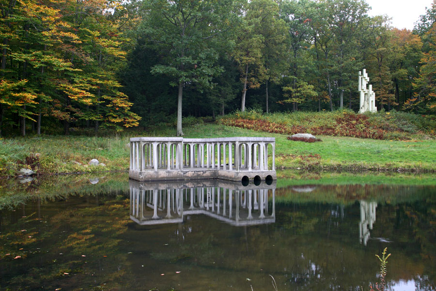 The Lakeside Pavilion with the Kirstein Tower in the background at architect Philip Johnson's iconic Glass House estate.