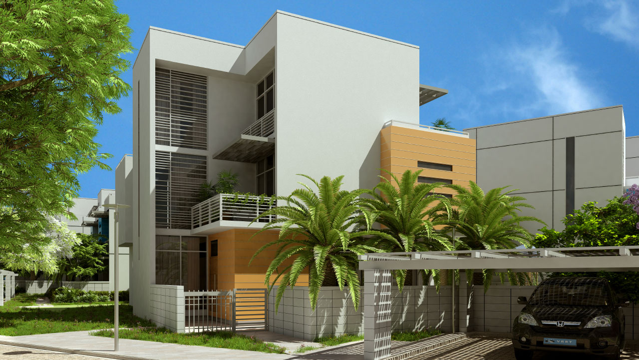 Exterior rendering of U.S. Embassy staff housing in Haiti by Sorg Architects