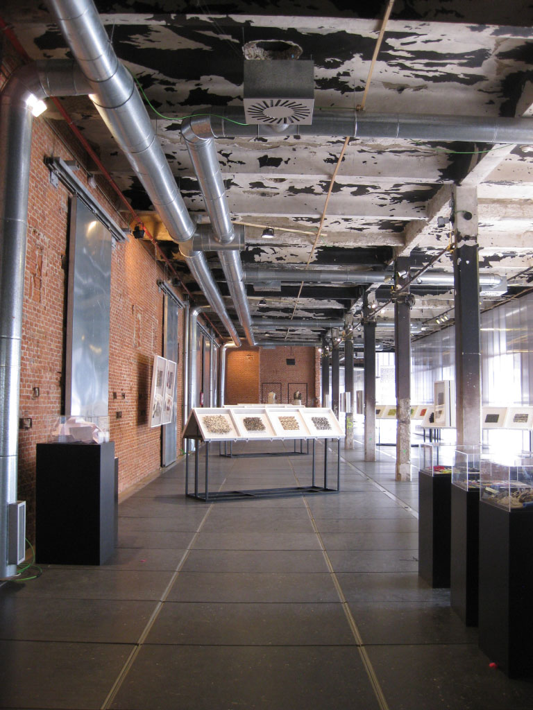 Interior of the renovated Matadero cultural center in Madrid, Spain