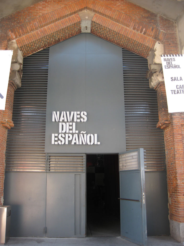 Naves Del Espanol sign of the renovated Matadero cultural center in Madrid, Spain