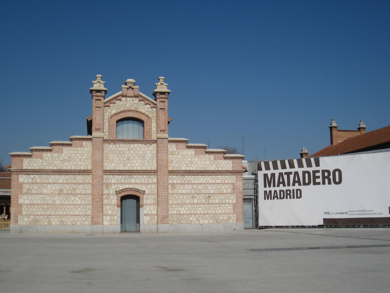 Exterior of the renovated Matadero cultural center in Madrid, Spain