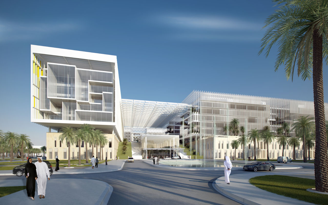 Sheikh Kahlifa Medical City exterior rendering