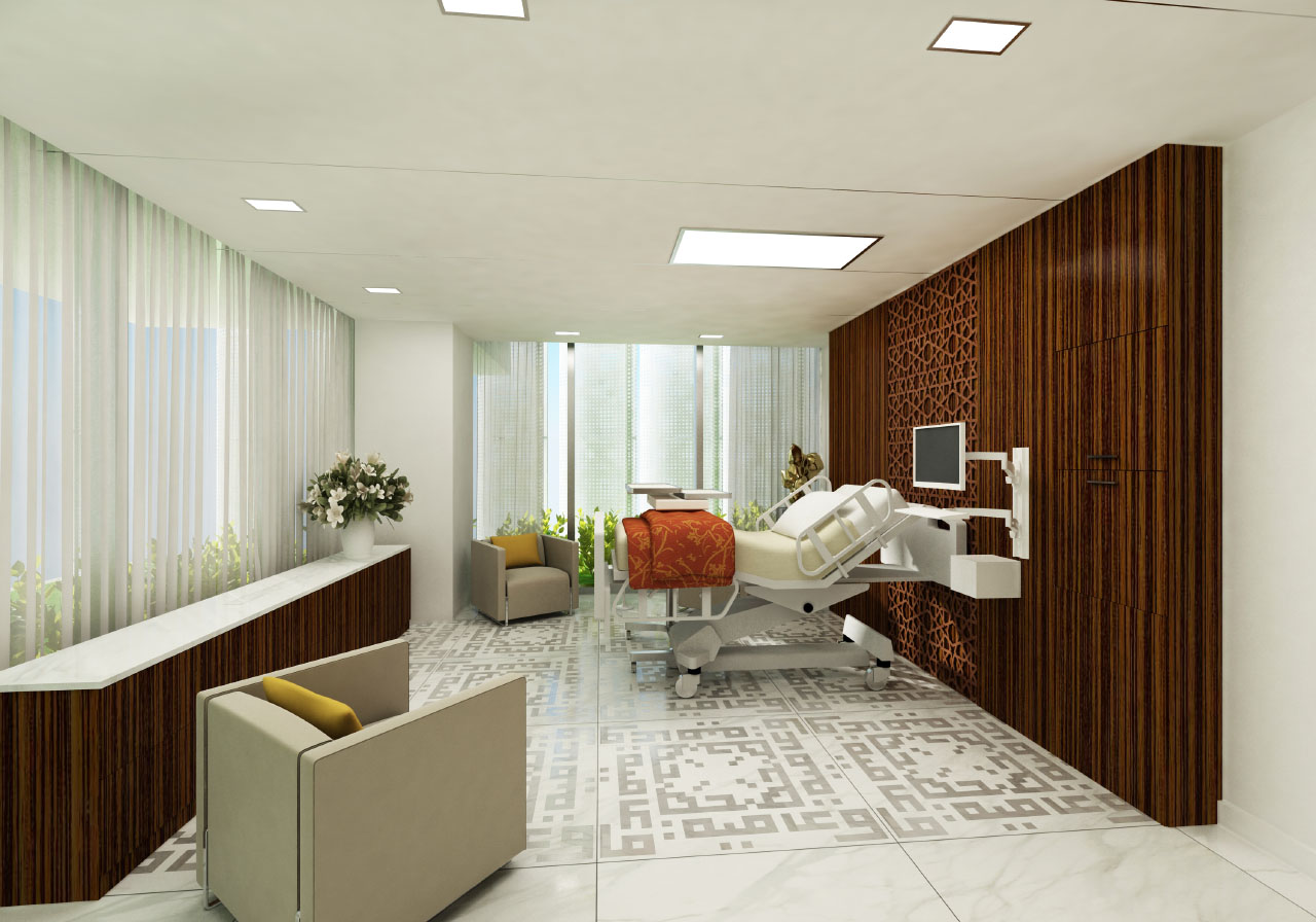 Sheikh Kahlifa Medical City patient room rendering