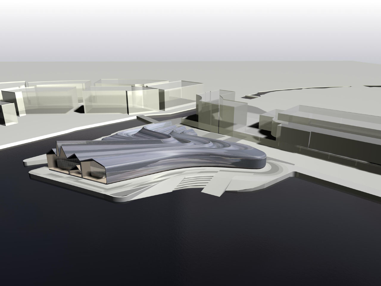 Zaha Hadid Architects' Riverside Museum of Transport and Travel aerial rendering