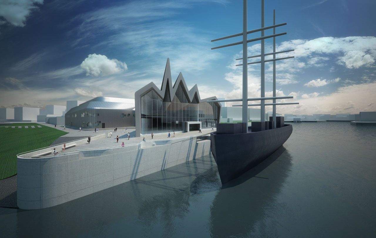 Zaha Hadid Architects' Riverside Museum of Transport and Travel exterior rendering