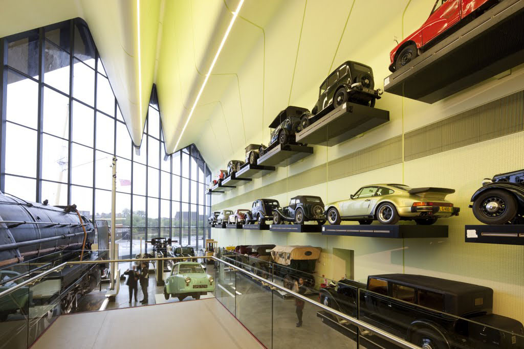 Zaha Hadid Architects' Riverside Museum of Transport and Travel Wall of Cars